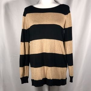 Solid Black & Metallic Gold Striped Long Sleeves